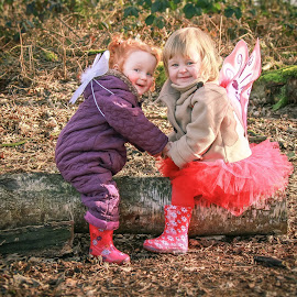Annabel and Martha by Maria Fetherstone - Babies & Children Toddlers ( colour, nature, fairy, woodland, fun, toddlers, smiles )