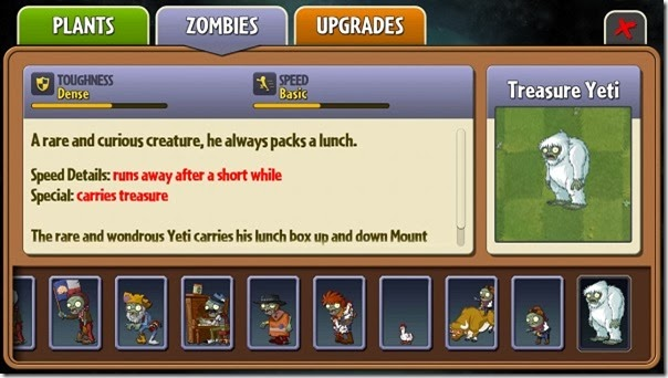 Plants vs Zombies 2 Treasure Yeti almanac entry