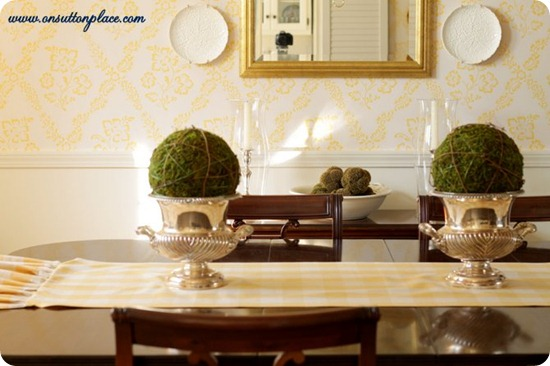 yellow traditional dining room