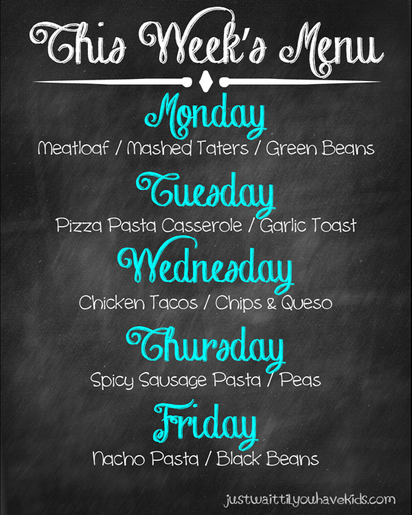 October Week 1 Meal Plan