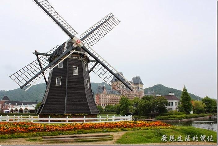 日本北九州-豪斯登堡。大型的風車加上各種顏色的花草,讓人流連忘返。