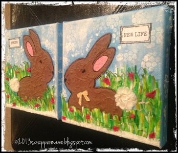 SPRING BUNNIES CANVASES SIDE w border