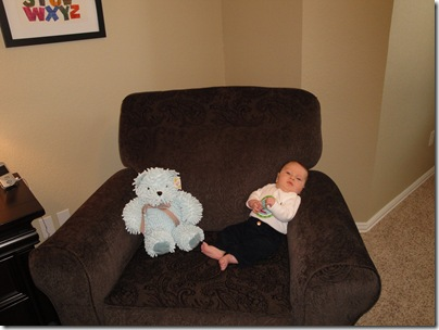 9.  Knox with Bear in chair at 2 months