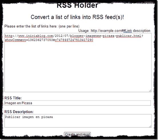RSS feed a crear