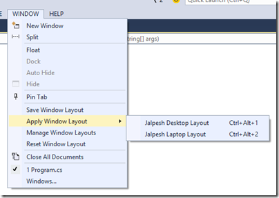 apply-windows-layout-visual-studio-2015