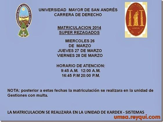 Matriculación UMSA 2014