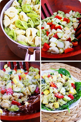 Tortellini Spinach Salad – Tender tortellini and fresh colorful veggies combine in this standout spinach salad. Super healthy, delicious and so easy to prepare! | thecomfortofcooking.com
