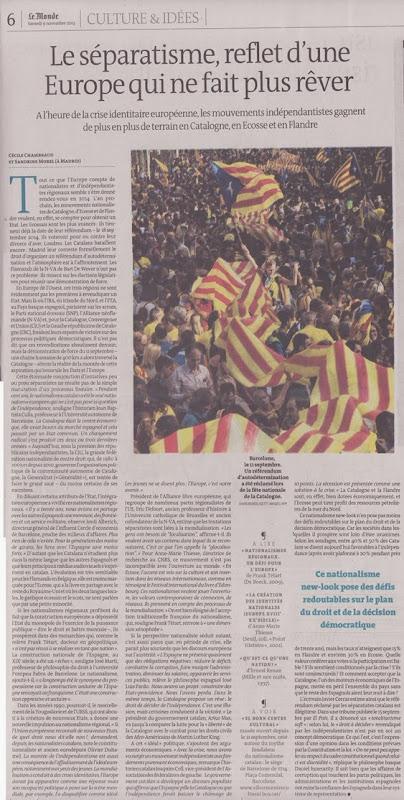 Catalonha Le Monde aqueste dimenjada del 10 de novembre