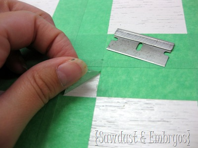Use a razorblade to cut the squares