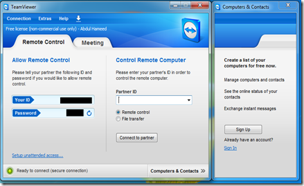 Team Viewer page