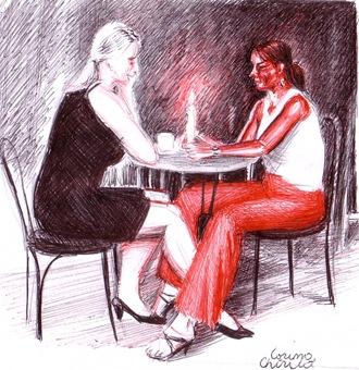 Cina romantica desen facut cu pixu;