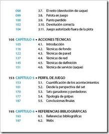 """Índice del Libro """"Cómo jugar al pádel"""" 2014. Capitulos."""