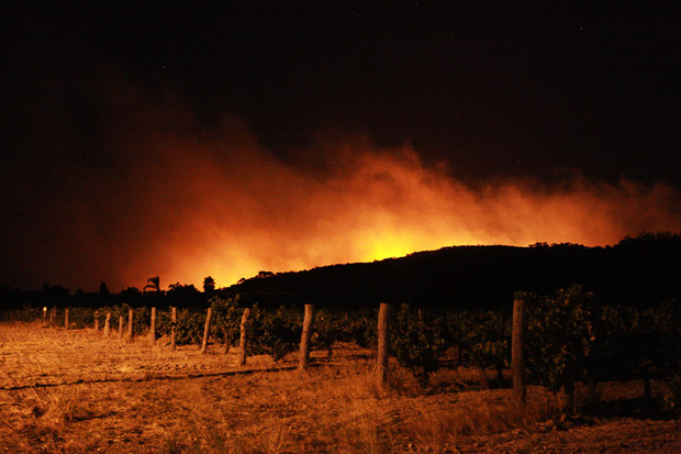Nighttime glow from bush fires in Western Australia, 6 February 2011. Dozens of houses burnt to the ground near Perth. Photo: REUTERS
