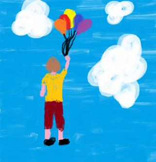Menino voando com balões