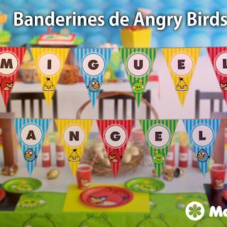 Decoración Fiesta de Angry Birds: Banderines para imprimir GRATIS