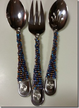 Serving utensils with beaded accents.