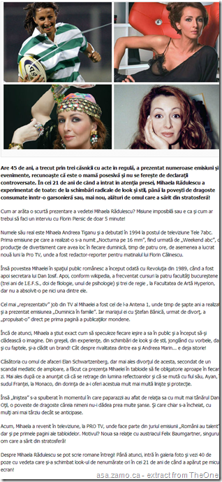 screencapture: articolul publicat in The One by Catalina Matei on Mihaela Radulescu - Cele 40 de 'umbre' ale Mihaelei Rădulescu. Cum s-a transformat diva în 21 de ani de TV