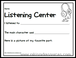 Primary listening center recording sheet - free download from Raki's Rad Resources.