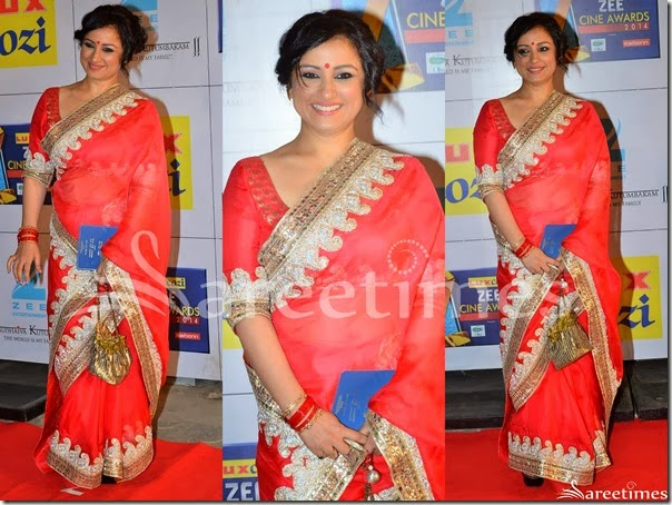 Red_Plain_Georgette_Saree