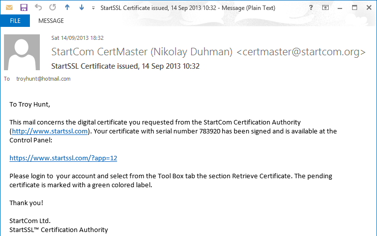 Email confirming the certificate is ready