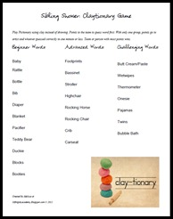 Sibling Shower Claytionary Word List