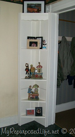 Repurposed Door corner shelf