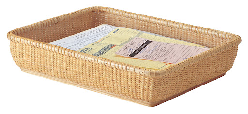 The woven construction of this letter tray will suit most any home. (basketville.com)