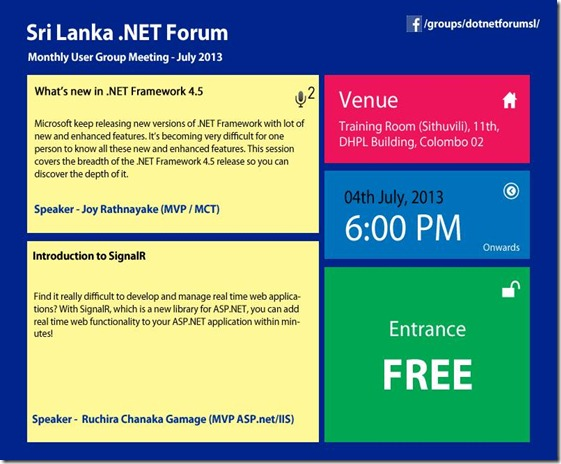 Sri lanka .NET Forum - July user group meeting