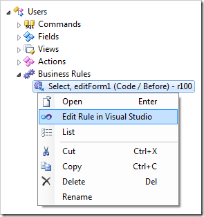 Context menu option 'Edit Rule in Visual Studio' for a business rule.