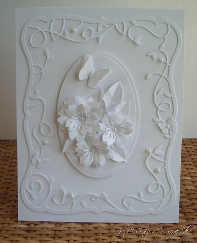 White card, White Flowers, Cherry Blossom Punch, Memory Box Twirling Vine Frame, Memory Box Debuante Frame, MS BFly, Scrapadoodle, Carla's Scraps (2)
