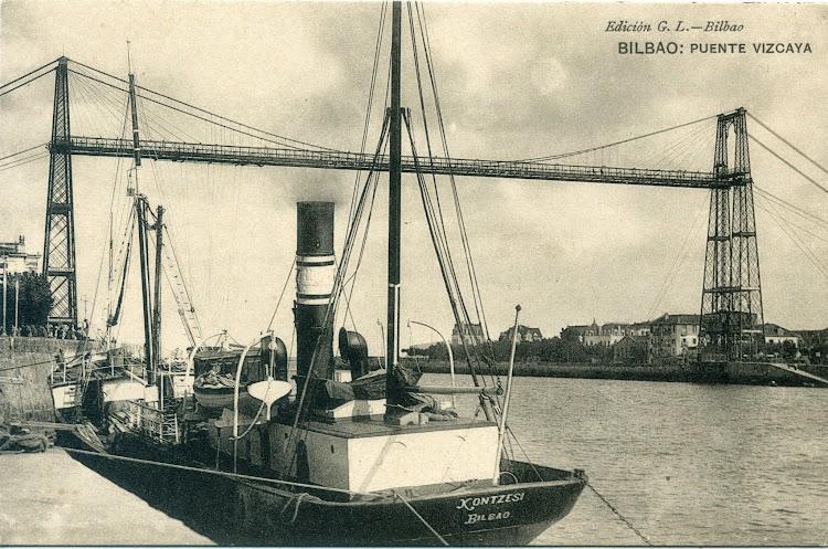 Vapor KONTZESI atracado en Bilbao. Fecha 1905-1913. Postal.jpg