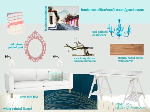 feminine girly blue gray office craft room guest room mood board