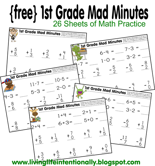 Help 1st Grade kids practice math daily with this cool math games -  Mad Minutes! This FREE printable math worksheets for 1st grade will help kids to have fun practicing math.