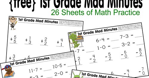 1st Grade Math Worksheets – Mad Minute Math Worksheets