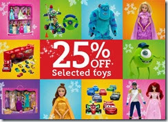 25% off selected toys 28-11-2013