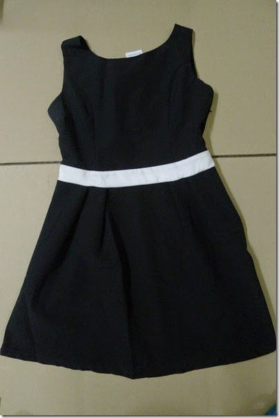 Little black dress with white strip