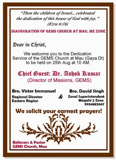 GEMS M2 Zone Invites for the Mau Church Building Inauguration