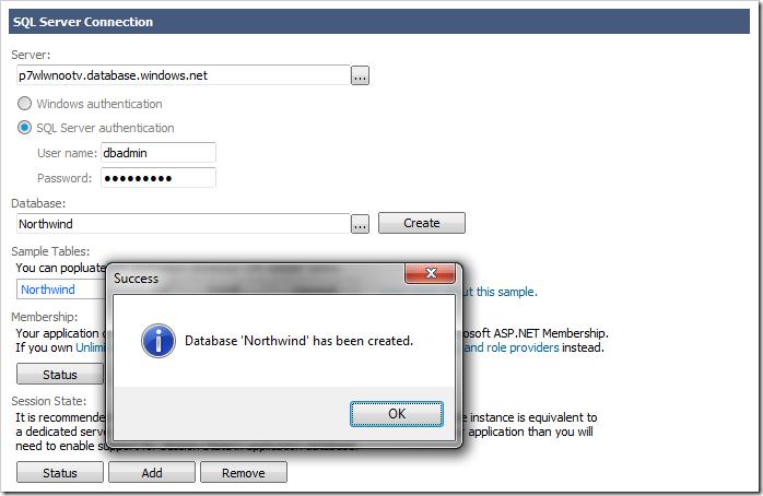 Creating the 'Northwind' database.
