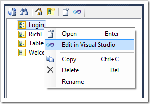 Activating Visual Studio to modify the 'Login' user control