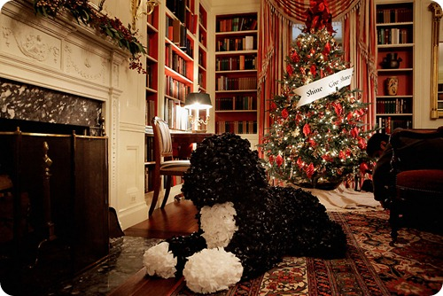 Christmas Bo Topiary in White House Library