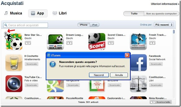 Nascondere acquisti iTunes