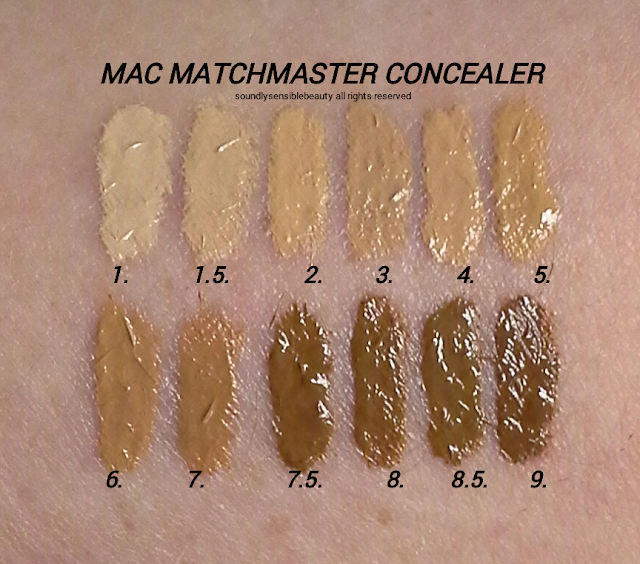 MAC MatchMaster Concealer Stick Swatches of Shades