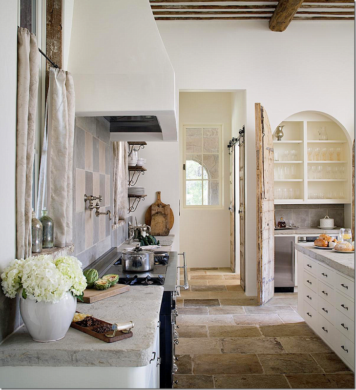 In Kitchen, Stove And Old Wood Doors