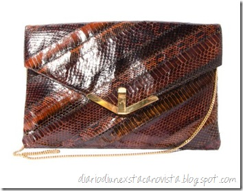 Vintage Snakeskin Purse Oversized Clutch Brown with Gold Trim