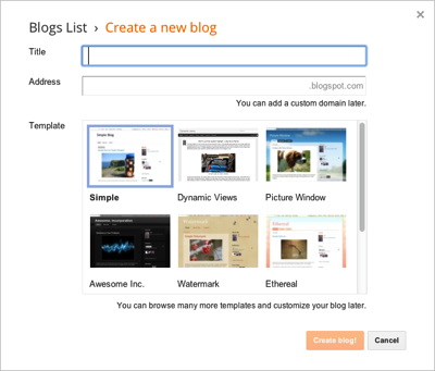 Blogger Create a New Blog