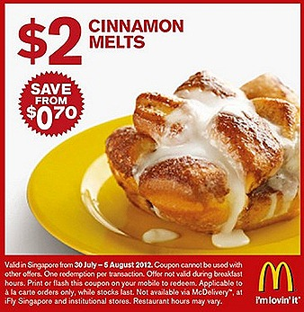 Mcdonalds $2 Offer Cinnamon Melts McCafe Latte Frap Hot chocloate $3 Quarter Pounder Burger Cheese $2 Chicken Nugget 6 piece Curry sauce sweet and sour sauce Sausage Mcmuffin Egg McMuffin breakfast hours July August french fries