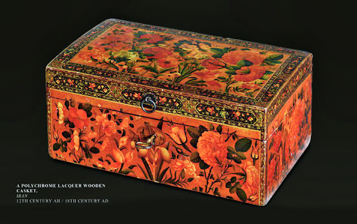 A Polychrome Lacquer Wooden Casket. Iran.