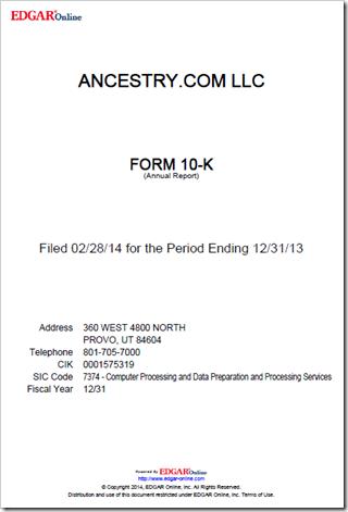 Ancestry.com 2013 Form 10-K