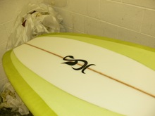 resin tint longboard with panel nose concave - Tim Stafford Surfboards