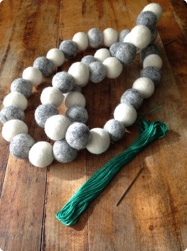 GRAY AND WHITE 2CM FELT BALL GARLAND FROM ALWAYSINWONDER (1)